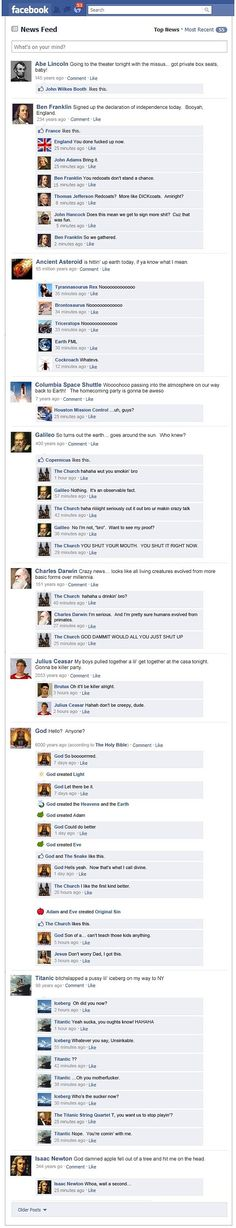 "History if facebook existed-freaking hilarious! My favorite is the ""like"" by france. ha."