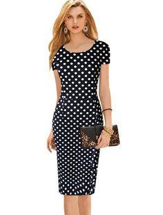Vintage Dot Print Short Sleeve O-Neck Dress