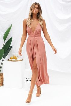 Sunset Cocktails Jumpsuit (Coral)