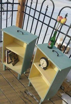 upcycled drawers to side tables, painted furniture, repurposing upcycling - Diy Furniture Beds Ideen Refurbished Furniture, Repurposed Furniture, Furniture Makeover, Painted Furniture, Bedroom Furniture, Vintage Furniture, Dresser Makeovers, Diy Furniture Repurpose, Office Furniture