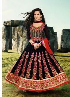 Black Red Faux Georgette Pakistani Salwar Suit