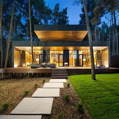 Located in Poltava, Ukraine, Chalet 4.0 is a part of the hotel complex Relax Park Verholy. The buildings are beautifully integrated into the surrounding pine forest and utilise a unique screw base to minimise the impact to the environment. Designed by YOD Design Studio.