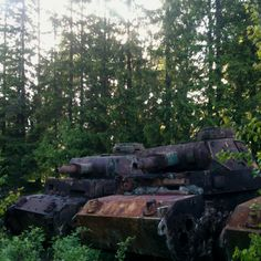 Three (3) German Panzer III's from WW2 forgotten in the woods...