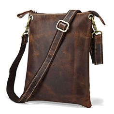 Vintage Handmade Antique Genuine Leather Ipad Bag / Messenger Bag in Dark Brown