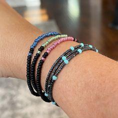Stack Bracelets, Stackable Bracelets, Stretch Bracelets, Beaded Bracelets, Layered Look, Matte Black, Color Pop, Layers, Beads