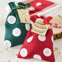 Polka Dot Burlap Gift Sack