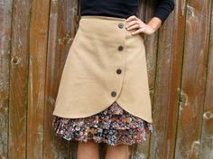 Desertshore wool ruffle front skirt Sz 6 by LoveToLoveYou on Etsy