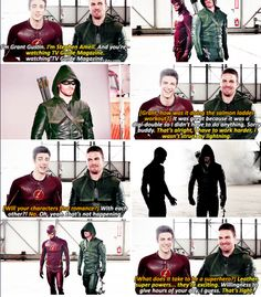 grant gustin and stephen amell <- leather and super powers, i don't think that was supposed to be their answer