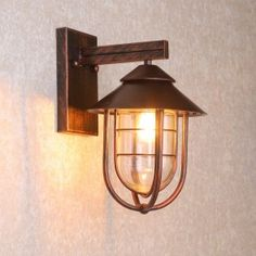 Industrial Metal Cage Clear Glass Shaded Nautical Indoor Outdoor Wall Light in Antique Copper Outdoor Sconces, Outdoor Light Fixtures, Outdoor Wall Lighting, Wall Sconce Lighting, Outdoor Walls, Wall Sconces, Indoor Outdoor, House Lighting, Copper Light Fixture