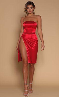 Satin Seduction Strapless Side Slit Midi Dress - 2 Colors Available