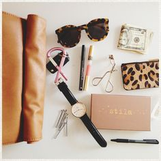 beauty essentials x sunglasses x classic watch :: lifestyle Pat Lee, What In My Bag, What's In Your Bag, Beauty Essentials, Travel Essentials, Purse Essentials, Travel Tips, Fashion Bags, Fashion Accessories