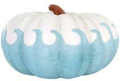 Beach Blue Wave Pumpkin on Sale .... http://www.completely-coastal.com/2016/09/artificial-faux-pumpkins-coastal-nautical.html $27.99