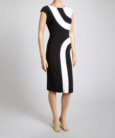 Loving this MSK Black & White Illusion Dress on #zulily! #zulilyfinds