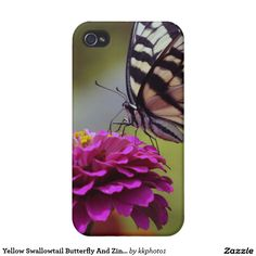 Yellow Swallowtail Butterfly And Zinnia Cases For iPhone 4
