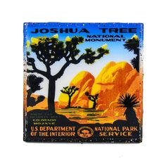 A Handmade Coaster Vintage Travel Ad - Joshua Tree, adorns this classy handcrafted coaster made with a handpainted upcycled tile.     Antique advertising art is scanned, digitally enhanced, and restored, so that this piece of history can be forever remembered and preserved within a Stella Divina coaster displayed in your home.       Coasters are:   - waterproof & alcohol proof.   - heat resistant to 200 degrees   (great for a coffee, not for a hotplate.)   - UV-Protected, so the images won't…
