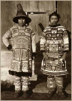 Coudahwot and Yehlh-gouhu, chiefs of the Con-nuh-ta-di at Klukwan, in Dance Costumes, Alaska. ca. 1895.
