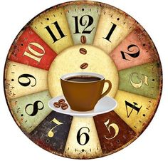 Coffee Icon Icons from GraphicRiver Clock Art, Diy Clock, Clock Decor, Wall Decor, Coffee Icon, Coffee Art, Coffee Clock, Decoupage Vintage, Decoupage Paper