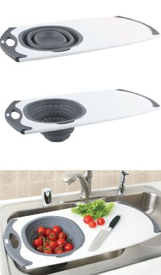 A great stuff for the small kitchen that fits over the sink for washing, slicing and cutting veggies in an easy way. The non slip based surface of it prevents the board from slipping when placed it over the sink and the collapsible strainer and flat body of it makes the way perfect for an easy storage. Price $29.99