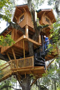 shed plans! Start building amazing sheds the easier way. with a collection of shed plans! Beautiful Tree Houses, Cool Tree Houses, Beautiful Homes, Adult Tree House, Tree House Plans, Treehouse Cabins, Treehouses, Luxury Tree Houses, Backyard Playset