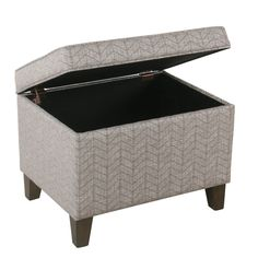 Medium Storage Ottoman – Textured Gray | HomePop Unique Home Decor, Home Decor Items, Dining Corner, Dining Room, Grey Ottoman, Brown And Grey, Gray, Media Storage, Hidden Storage