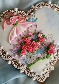 Lacy heart, spring flower cart,