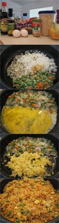 1 cup frozen peas and carrots (thawed) 1 small oníon, chopped 2 tsp mínced garlic 2 eggs, slightly beaten 1/4 cup soy sauce
