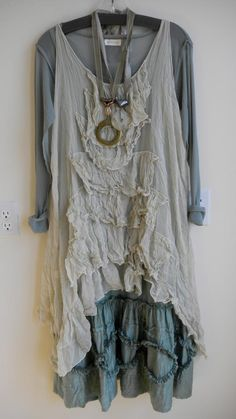 shabby chic...Kati Koos. Layers of lovely ruffles. I have found myself looking at a lot of lagenlook lately ( say THAT fast). Looks well with upcycled fashion aesthetic.