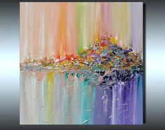 Original Abstract Painting, Colorful Abstract Painting, Abstract Landscape Art, Surreal Abstraction, Modern Painting, Hand-painted, Ready to Hang, Rich Texture, Palette Knife, Contemporary, Canvas Art, Multicolored, Floral, Zen, Modern Wall Decor ''Vision of landscape'' - Full-frontal image, framed