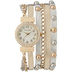 maurices Mixed Metal Wrap Watch ($24) found on Polyvore featuring jewelry, watches, bracelets, accessories, mixed metal bracelet, bracelet watches, wrap watches, snap button bracelet and faux watches
