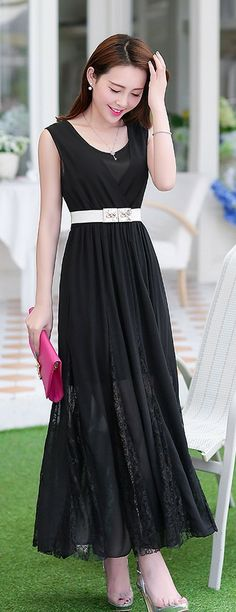 Elegant Evening Maxi Chiffon Dress plus Lace YRB0002