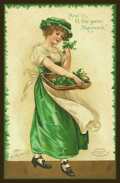 St Patrick's Day Vintage Postcard on Fabric Block Irish Girl Shamrock Clapsaddle Images Vintage, Vintage Cards, Vintage Postcards, Impressões Vintage, Funny Vintage, St Patrick's Day, Fete Saint Patrick, Decoupage, St Patricks Day Cards