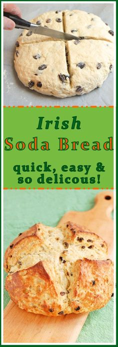 Irish Soda Bread with Raisins, needed longer to cook, used vinegar w whole milk to replace buttermilk (bread recipes with yeast milk) Loaf Recipes, Cooking Recipes, Cooking Cake, Irish Soda Bread Recipe, Irish Bread, Detox Kur, Irish Recipes, No Bake Desserts, Holiday Recipes