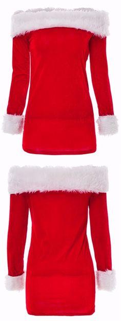 38b3699a320aa Charming Boat Neck Long Sleeve Downy Dress For Women. Christmas ...