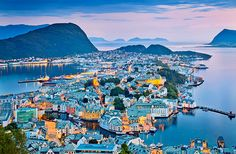 "ALSEUND Famous as the ""Art Nouveau city,"" Alesund is indeed a beautiful, historic town founded in 1838. Occupying a peninsula about halfway up the Norwegian coast, Alesund thrived in shipping and fishing industries until it was devastated by a fire in 1904. The city was rebuilt using architecture heavily influenced by the Art Nouveau styles of the early 20th century."
