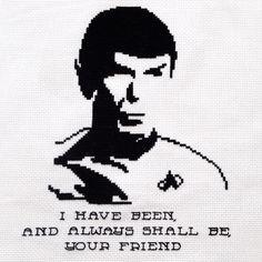 Spock's last words to Kirk. Star Trek cross stitch