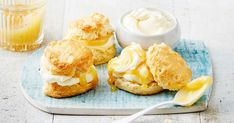 Basic scones get a zesty makeover with the addition of lemon squash, mascarpone and lemon curd.