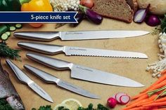 5 piece Professional Chef's Knife Set To introduce you to the exclusive Jean-Patrique® Kitchenware range, our Stainless Steel Professional Chef's Knife set is yours for only plus p&p That's Over OFF! Kitchen Cutlery, Kitchen Drawers, Wooden Kitchen, Kitchen Knives, Plymouth, Glasgow, Professional Chef Knife Set, Stainless Steel Knife Set, Cook Up A Storm