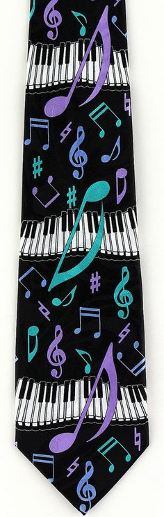 New Teal & Purple Piano Notes Mens Necktie Musical Instrument Music Neck Tie #Fratello #NeckTie