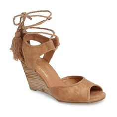 Women's Coconuts By Matisse Unify Wedge Sandal ($80) ❤ liked on Polyvore featuring shoes, sandals, natural fabric, wedge sandals, matisse sandals, braided sandals, braided wedge sandals and ankle strap shoes
