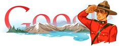 Google Doodle for May 23, 2013, celebrating the 140th anniversary of the North-West Mounted Police, which later became the Royal Canadian Mounted Police (RCMP).
