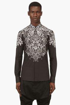 ALEXANDER MCQUEEN Black & ivory lace-print shirt #alexandermcqueenmenswear