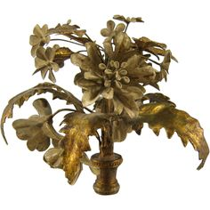 Tole Bouquet Lamp Finial Vintage French Italian Flowers from stonehouseantiques on Ruby Lane