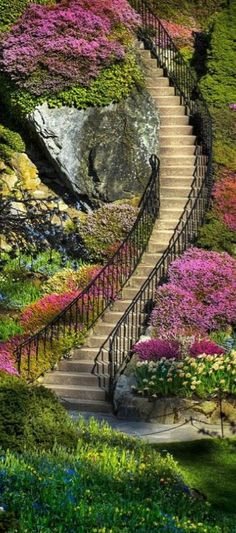Beautiful stairs at Butchart Gardens in Brentwood Bay (near Victoria) on Vancouver Island in British Columbia, Canada • photo: John Rogers on Flickr
