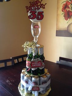 Birthday Men Beer Can Cakes 24 Best Ideas Beer Birthday Party, Diy Birthday Cake, Birthday Love, 50th Birthday Party, Birthday Gifts, Birthday Ideas, Alcohol Cake, Alcohol Gifts, Stella Artois