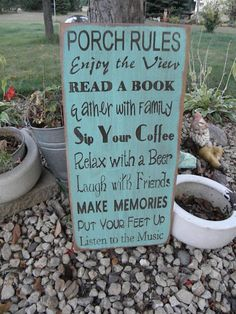 Custom Vintage Style Porch, backyard, Deck, Patio Rules 11x24 Typography Word Art Sign