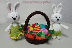 Wundervolle Amigurumi Welt: Osterdeko free pattern (de) Easter Basket, Easter Eggs, Easter Bunnies pattern