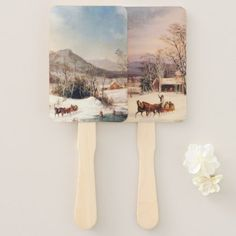#Americana Country USA Snow Sleigh Horse Hand Fan - #country gifts style diy gift ideas