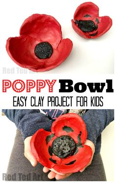 Poppy DIY - Easy Clay Bowl - Red Ted Art - Make crafting with kids easy & fun Easy DIY Poppy Bowls. These Poppy Bowls are simple for kids to make. They are fabulous for Remembrance Day or for as a homemade gift that kids can make! Remembrance Day Activities, Remembrance Day Poppy, Easy Crafts To Make, Easy Arts And Crafts, Easy Diy, Poppy Craft For Kids, Art For Kids, Paper Plate Poppy Craft, Clay Projects For Kids