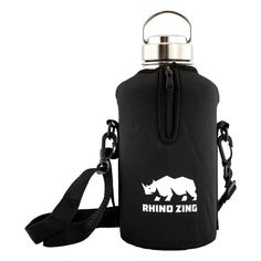 Rhino Zing Stainless Steel Water Bottle and Beer Growler w/Sleeve/Pouch and Stainless Steel Lid, Insulated, Wide Mouth, Classic Stainless Stainless Steel Growler, Stainless Steel Water Bottle, Camping Drinks, Beer Growler, Craft Beer, Drink Sleeves, Bucket Bag, Gym Bag, Pouch