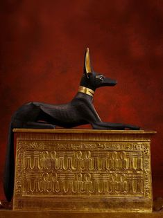 Anubis,Egyptian God of the Dead guarding the Chest